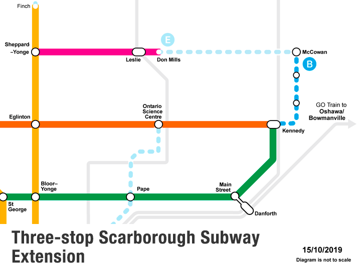 Map of  Three Stops Scarborough Subway Extension